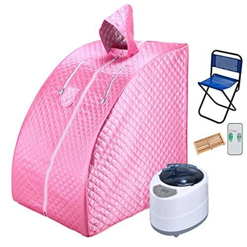 JLFSDB 2.5L Sauna Steam Portable Sauna Box Home Full Body Sauna Spa Steamer Machine Folding Detox Therapy Sauna Generator With A Chair (Color : Pink)
