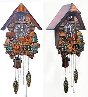 Imoerjia Kairos Korea Living Room Wall Clock Wooden Cuckoo Clock Music Newspaper, Bird Watch