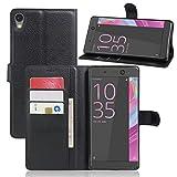 COPHONE Etui Coque Housse de Protection Noir en Cuir pour Sony Xperia XA Ultra Etui porteufeuille Noir Haute qualité pour Sony...