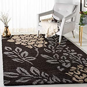 SAFAVIEH Florida Shag Collection SG456 Floral Non-Shedding Living Room Bedroom Dining Room Entryway Plush 1.2-inch Thick Area Rug, 8′ x 10′, Dark Brown / Grey