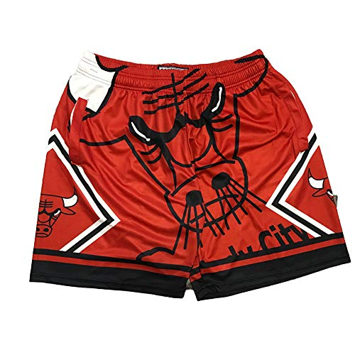 Chicago Bulls LaVine Jordan Jugend Basketball-Shorts für Herren, Mode Stickerei Atmungsaktiv Outdoor Fitness Sporthosen, Lose Digitaldruck Shorts Gr. S, rot