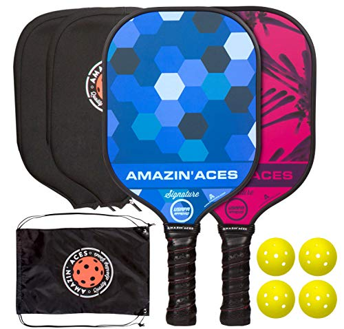 Amazin' Aces Signature Pickleball Paddle Set | USAPA Approved | Graphite Face & Polymer Core | Premium Grip | Includes Paddles, Balls, Paddle Covers, Bag & eBook | 2 Paddle Set (Blue & Pink)