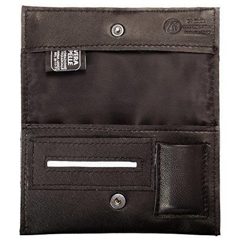 Pellein - Portatabacco in vera pelle Nero Hero - Astuccio porta tabacco, porta filtri, porta cartine...