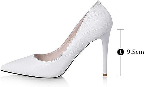 XUERUI Escarpins Sandales Cuir Talons Hauts Aux Femmes Talons Mode Mode Talons Fins des Chaussures Peu Profond Bout Pointu Chaussures (Couleur   blanc 9.5cm, Taille   EU38 UK5.5 CN38)