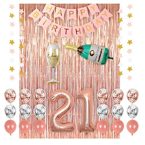 TOYS Decoraciones para Fiestas De Cumpleaños 21, Globos De Pancarta Feliz Cumpleaños, Globos Confeti, Papel Aluminio, Cortinas Papel Oro Rosa para Suministros Fiesta Cumpleaños Niña