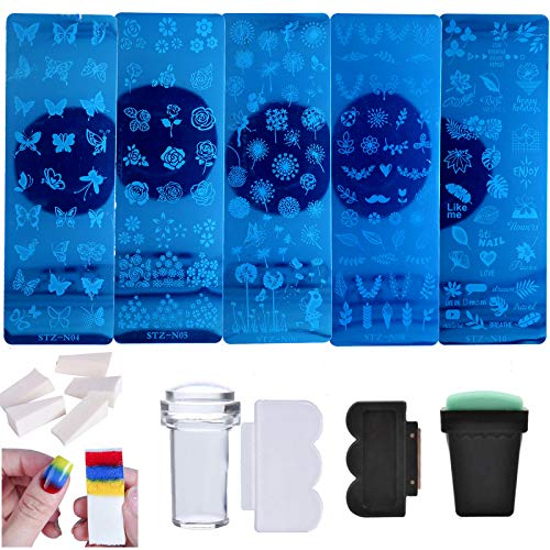 Nail Stamper Kit 5pcs Flower Leaves Butterfly Pattern Stamping Plate with 2 Stamp and Scraper for Nail Art Decoration Manicure