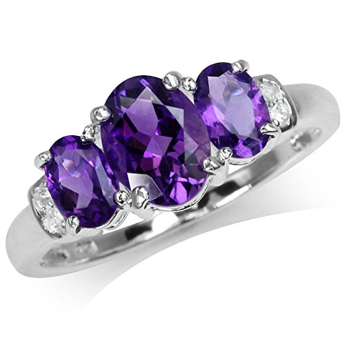 Silvershake 1.97ct. 3 Stone Natural Oval Shape African Amethyst and White Topaz 925 Sterling Silver Ring Size 6