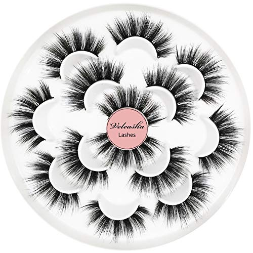 Veleasha 5D Faux Mink Lashes Handmade Luxurious Volume Fluffy Natural False Eyelashes 7 Pairs | Dubai