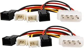 WYMECT 2 Pack IDE Molex 4-Pin to 3-Pin TX3 Case Cooling Computer Fan Multi-Fan Out Power Converter Cable Speed Control Line 2X5V/2X12V