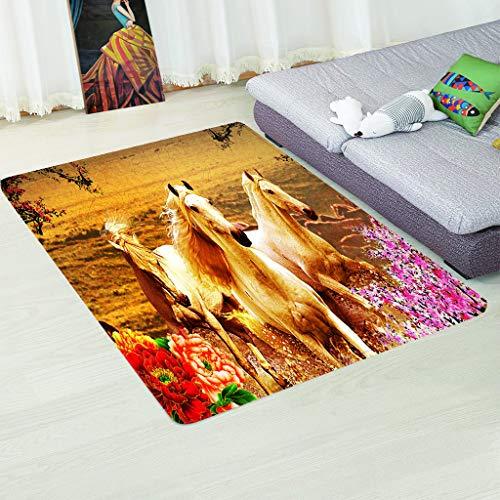 LGXINGLIyidian Moquette Super Morbida Cavallo Bellissimo Fiore Calda Moquette Antiscivolo per Camera da Letto Stampata in 3D 200X290Cm