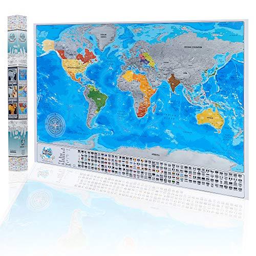 Gedetailleerde Scratch Off Wereldkaart - met Landen Vlaggen, Grootste Steden en Hoofdsteden - Originele Zilveren Kleur Surface Design - Meest Gedetailleerde Cartografie Wereldkaart - Scratch Off World Map Poster - 84 x 57cm, Gemaakt in EU 84 x 57 cm