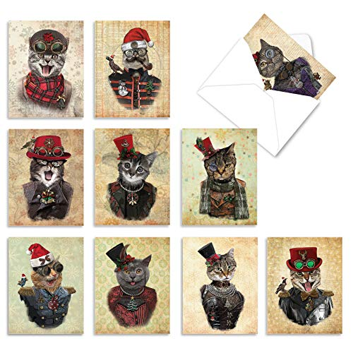 The Best Card Company - 10 Blank Christmas Note Cards - Pet Cats and Dogs, Boxed Xmas Animal Cards for Kids (4 x 5.12 Inch) - Christmas Steampunk Cats M6554XSB