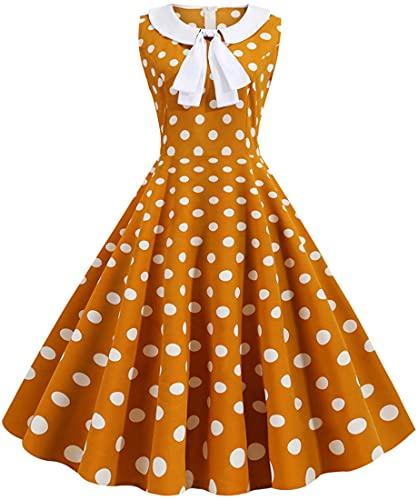 YINGKE Mujer Vestido de cóctel sin Mangas con Pajarita Vestido de Noche Rockabilly de los años 50 60, Amarillo S