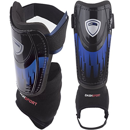 DashSport Soccer Shin Guards -Youth Sizes Best Kids Soccer Equipment with Ankle...