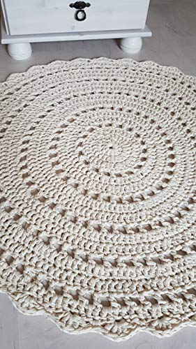 Teppich Häkelteppich rund Kinderteppich Kinderzimmer ecru naturweiß Mandala ab 85 cm