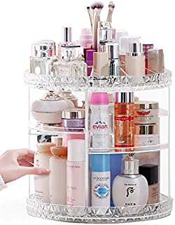 Lumcrissy Makeup Organizer, 360-Degree Rotating Adjustable Multi-Function Acrylic Cosmetic Storage (L)
