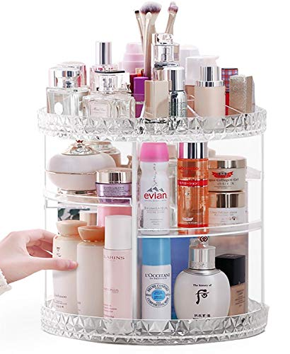 Rotating Makeup Organizer,Lumcrissy 360-Degree Acrylic Cosmetic Storage Cosmetic Organizer,Large Capacity Crystal Display Stand Box, Adjustable Multi-Function Bathroom Counter Organizers Storage For Makeup Brushes, Lipsticks (Extra L)