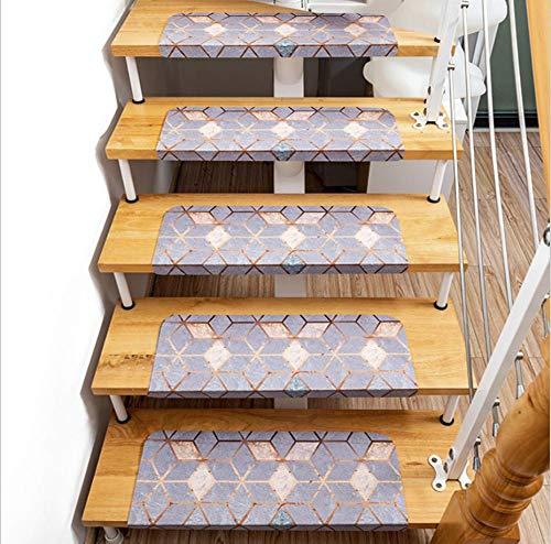 PERFECTPOT Treppenmatte Stufenmatten Geometrisches Muster Treppen-Teppich Polyesterfaser PVC Matten für Rutschsichere Treppenaufgänge, 15 Stück, 55cmx22cmx4.5cm