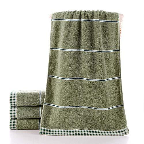 Algodón 40 * 90 cm Toalla de baño Alargada baño Deportivo Toalla de Cara Que Absorbe el Sudor Toalla de Cara Suave Absorbente para Adultos Manta Rectangular-Verde