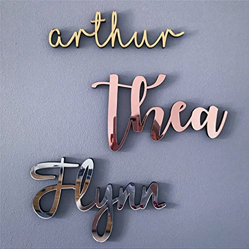 Acrylic Mirror Wooden Wall Door Name Sign - 9Mm Thick Nursery Decoration Kids Baby Room Personalised Home Plaque Wedding Rose Gold Silver For Kids Child'S Baby Girl Boy Bedroom Playroom Nursery Sign