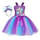 Jurebecia Traje de Sirena Niñas Vestir Fiesta de Lujo Cumpleaños Cosplay Dress Niños Vestidos Vestido de Tutú con Accesorios Morado 6-7 Años