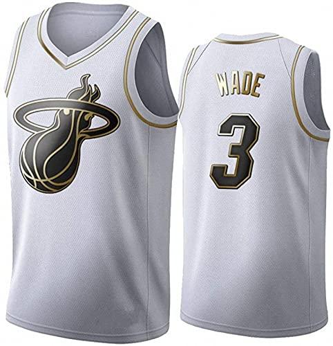 AGLT Hombre Basketball Jersey NBA Miami Heat n#3 Wade Ropa de Baloncesto Camisetas Al Aire Libre Casual Mujer Verano Cuello Redondo CháNdales,4,XXL
