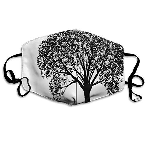 Cómoda máscara de carbón activado, silueta de árbol con ilustración de columpio, flores y patrón monocromático de hierba, decoraciones faciales impresas para adultos