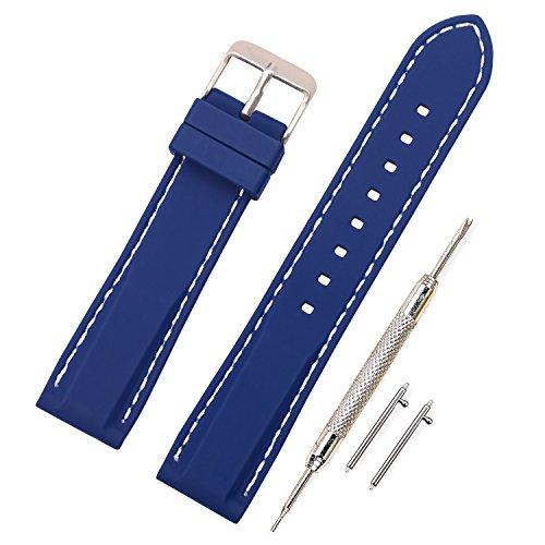 Vinband Correa Silicona Reloj Correa Suave Reemplazo de Banda de Acero Inoxidable Hebilla - 18, 20, 22, 24 mm Correas de Cuero para Reloj (18mm, Azul Profundo)