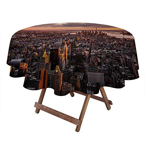 Tablecloth Aerial View of the Manhattan Skyline at Sunset Famous Financial District NYC Printed Washable Table Cloth for High Top Table, Bistro Table, Other Tables Blue White (Diameter 70 Inch)