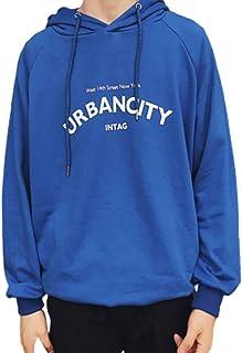 PinShang Men Hoodie Boy Hooded Top Casual Daily Wear Loose Edition Sportswear Jogging Clothing blue L