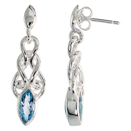 Sterling Silver Genuine Blue Topaz Celtic Knot Earrings Dangle Post Flawless Finish, 1 1/4 inch