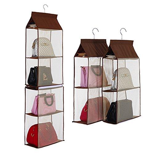 KingTo Detachable Hanging Handbag Purse Organizer for Closet [4 Slot 2 in 1 ] Purse Bag Storage Holder for Wardrobe Closet for Living Room Bedroom Home Use(Coffee)