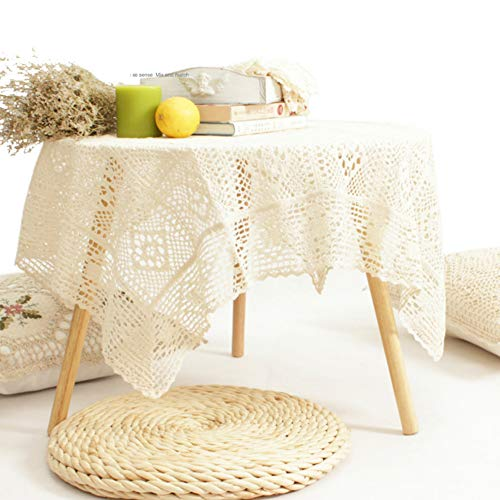 YDFXWXZ katoenen kant tafelkleed, handgemaakte haakjes, klassieke tafelbekleding, 60 x 120 cm, rechthoekig tafelkleed 240x260cm(94x102inch) A