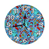 Reloj de pared para cocinar sopa vegetariana de 22,8 cm, silencioso, sin tictac, escaneo continuo, decorativo redondo reloj de pared