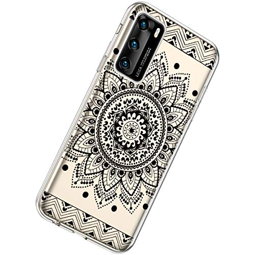 Herbests Kompatibel mit Huawei P40 Hülle Dünne Transparent TPU Schutzhülle Crystal Clear Silikon Stoßfest Hülle Durchsichtig Handyhülle mit Süße Niedlich Muster,Schwarze Mandala