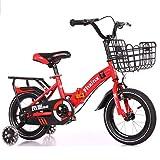 """K-G Bicicleta Infantil Plegable de los niños en Bicicletas Tamaño 12"""" 14"""" 16"""" 18"""" Acero Bicicleta de Entrenamiento del niño con la Rueda Auxiliar, por 2-9 Años de Edad (Color : Red, Size : 16 Inch)"""