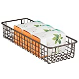 mDesign Household Wire Drawer Organizer Tray, Storage Organizer Bin Basket, Built-In Handles - for Kitchen Cabinets, Drawers, Pantry, Closet, Bedroom, Bathroom - 16' x 6' x 3' - Bronze