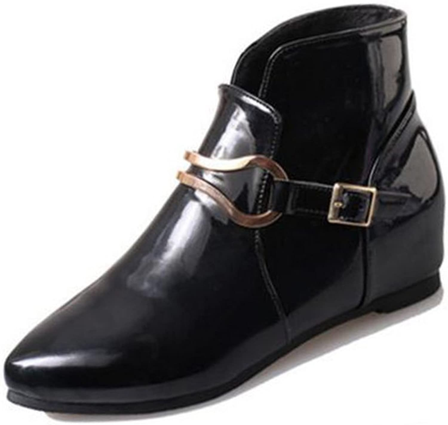 Huhuj autumn winter women's shoes Boots Vintage pointy patent leather boots Martin boots