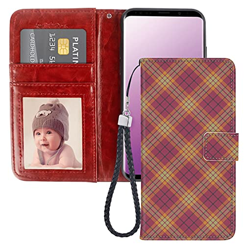 Phone Wallet Case for Samsung Galaxy S9 Plus, Premium PU Leather Galaxy S9 Plus Case (2018) [6.2in] Geometric Celtic Checkered Line Art Soft Colored British Tartan Style Repeating Pattern Multicolor