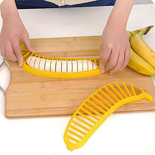 fine_fine Practical Banana Slicer - Manual Fruit Banana Cutter Slicer Chopper Suitable for a Child's Bite Size - Funny Kitchen Gadgets - Multifunction Kitchen Tools (Yellow)