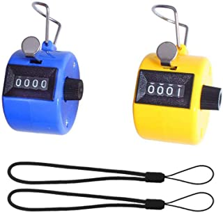 Wofeida Handheld Tally Counter/ Mechanical Palm Manual Number Clicker with Finger Ring, 4-Digital,  Disc Golf/Baseball Pitch /Bus Driver/Fish/Crochet Row Count(2 Pack)