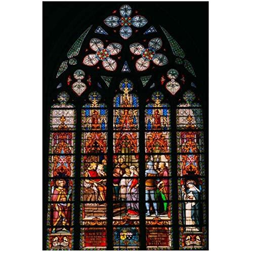 Wxueh Imagen De Techo De Vidrieras De Iglesia En Carteles E Impresiones Artísticos De Pared Religión Cristiana Edificio Pintura De Ventana Decoración -60X80Cmx1Pcs-Sin Marco
