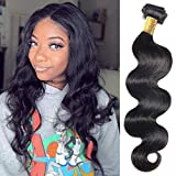 Brazilian Body Wave Human Hair Single Bundle 18 Inch 100% Unprocessed Body Wave Virgin Hair Extensions Body Wave Hair Weave Bundle 100g Natural Black(18Inch)
