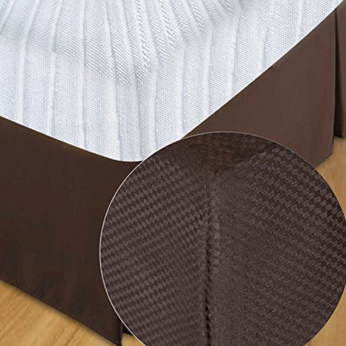 Great Price! Dzee Brown Micro Check Bed Skirt (78 x 80 x 15) 6 Piece Pack