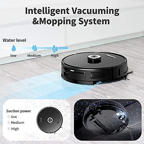proscenic M8PRO Robot Aspirador y Fregasuelos, Vaciado Automático, Navegación Láser 8.0 & Interactive MultiMap, Control por Voz &App Progamable, Limpieza Interna 5 en 1