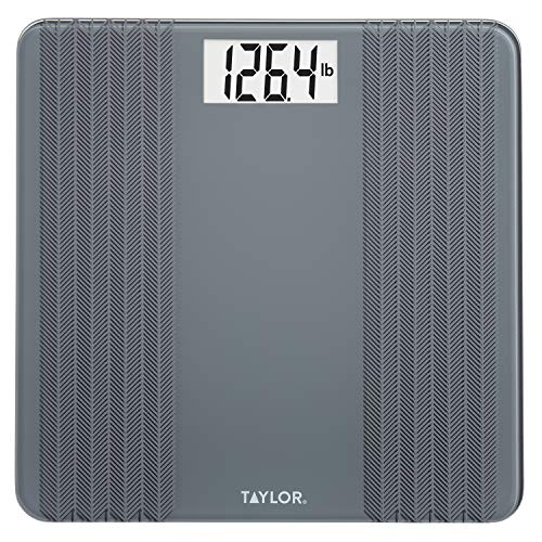 Taylor Precision Products Taylor Glass Textured Paint Herringbone Design Digital Bathroom Scale, Gray