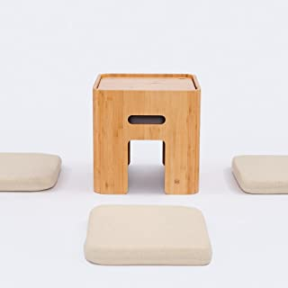 Small Storage Ottoman with 4 Cushions Coffee Table Tatami Tea Table Bamboo Stool Living Room Furniture