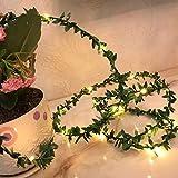 Guirnalda de luces LED artificiales, hojas verdes con hojas verdes de ratán, guirnalda de lámpara para casa, boda, Navidad, jardín, oficina, decoración (hojas pequeñas, 10 m x 100 LED)