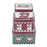 Regalo de Navidad Caja de anidación de lata Navidad Galleta Cuadrada Surtido Titular Fiesta temática Caramelo Tarro 3 Set para fiesta Favor Suministros Tarjeta Chocolate(rojo)