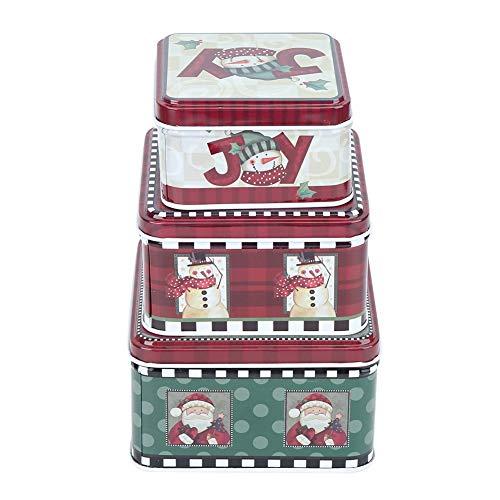 Kerstcadeau Tin Nesting Box Kerst Cookie Vierkant Verschillende Houder Vakantie Thema Candy Jar 3 Set voor Party Favor benodigdheden Kaart Chocolade Rood